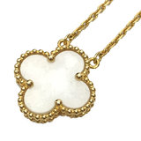 Van Cleef & Arpels Alhambra Pendant Necklace K18 750 YG Yellow Gold Mother of Pearl Accessory