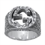 グッチ(Gucci) インターロッキングG アラベスク リング シルバー925 指輪・リング ブラック,シルバー