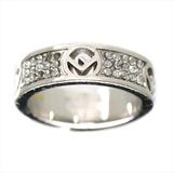 Fendi F Is Fendi Alloy Rhinestone Ring Silver