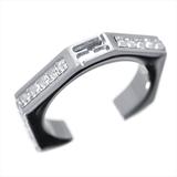 Fendi Logo Ring Alloy Rhinestone Ring Silver