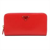 Prada Round Zipper Wallet VITELLO MOVE TR Red Women's Leather Long Wallet (bi-fold) Red Color
