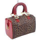 Fendi FENDI Bag Handbag Mini Boston Canvas Leopard Ladies Red Brown