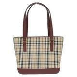 Burberry Tote Bag Canvas x Leather Beige Bordeaux Check