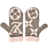 Louis Vuitton LOUIS VUITTON Moffle Grand Floor Gloves Mitten Monogram Gray x Pink 100% Wool