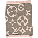 Louis Vuitton LOUIS VUITTON Snood Grand Floor Neck Warmer Monogram Gray x Pink 100% Wool
