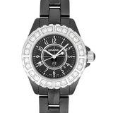 Chanel CHANEL J12 Large Diamond Bezel SS Black Ceramic Ladies Watch Quartz Dial H1173
