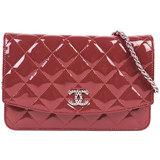 Chanel CHANEL Brilliant Matrasse Chain Wallet Enamel Red 8692