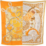 Hermes HERMES Carre 90 Silk Scarf King's Feather Ornament Plumets du Roi Switching Orange