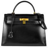 Hermes HERMES Kelly 32 Outer stitched 2WAY handbag with shoulder strap Box calf Black 〇R engraved