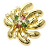 Emilio Pucci Multicolor Stone Diamond Pendant Top K18 Yellow Gold Ladies