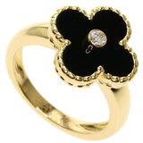 Van Cleef & Arpels Alhambra Onyx Diamond # 52 Rings K18 Yellow Gold Women's