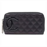 Chanel Cambon Women's  Calfskin Wallet Black,Pink