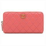 Chanel Matelasse Long Wallet Women's  Lambskin Wallet Pink