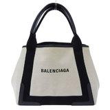 Balenciaga Navy Kabas Canvas Handbag Ivory