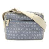 BVLGARI Bulgari Mania Shoulder Bag Pochette Canvas Leather Light Blue Ivory 22656