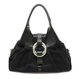 BVLGARI Bulgari Chandra Shoulder Bag Semi-shoulder Handbag Canvas Enamel Leather Black 32233