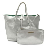 TIFFANY & Co. Tiffany Reversible Tote Bag Handbag Leather Silver Mint Green With Pouch