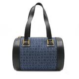BVLGARI Bulgari Mania Handbag Cylindrical Denim Canvas Leather Blue Black