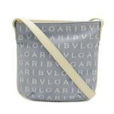 BVLGARI Bulgari Mania Shoulder Bag Mini Pochette Jaguar Canvas Leather Light Blue Ivory