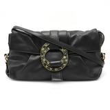 BVLGARI Bulgari Doppio Tondo Shoulder Bag 2WAY Clutch Second Leather Black 34022