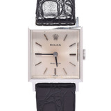 ROLEX Rolex Prescription 2639 Ladies SS / Leather Watch Manual winding Silver dial