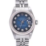 ROLEX Rolex Datejust 10P Diamond 79174G Ladies SS / WG Watch Automatic Blue Gradient Dial