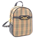 Burberry Rucksack Women's Beige Black Cotton Leather 8004653 Backpack Plaid