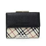 Burberry BURBERRY Gamaguchi Tri-Fold Wallet Check Black / Beige Leather Nylon Canvas