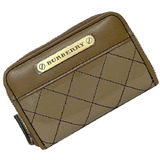 Burberry coin purse beige 4808-50 case enamel leather BURBERRY zip quilting ladies wallet