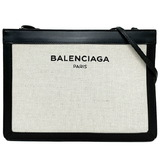 Balenciaga Shoulder Bag Navy Pochette White Black 339937 Canvas Leather BALENCIAGA Clutch 2way Ladies
