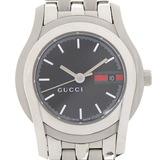 Gucci 5500L Ladies Quartz Watch Stainless Steel Black Dial