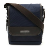 BURBERRY Burberry Black Label Plaid Shoulder Bag Nylon Leather Navy Blue Dark Brown