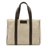 BVLGARI Bulgari Mania Tote Bag Shoulder Semi-shoulder Canvas Leather Beige Dark Brown
