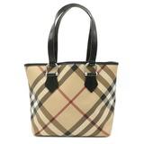 BURBERRY Nova check plaid tote bag shoulder PVC leather beige black red