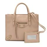 BALENCIAGA paper mini handbag bag leather pink beige with mirror 387477