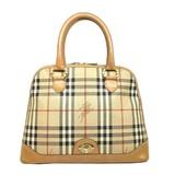 BURBERRY handbag beige leather x vinyl chloride coating