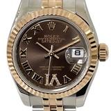 ROLEX Datejust Watch Diamond 179171 Brown SS / K18PG (750) Pink Gold Random Number Purchased in 2013 Box Warranty