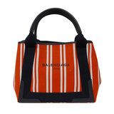Balenciaga BALENCIAGA Navy Kabas M Tote Bag Canvas Red Stripe