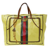 Gucci GUCCI Sherry Line Tote Bag Coated Canvas Yellow Ladies 286198