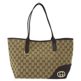 Gucci GUCCI GG Canvas Tote Bag x Leather Brown Ladies 169946