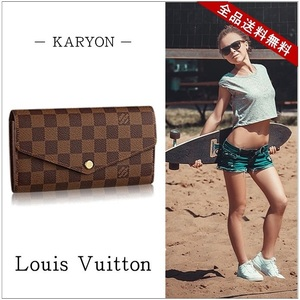 Louis Vuitton Wallet Long Men's Brown / Damier New Portofoille Sarah Ebene N63209 Saifuuoretto Simple Adult Casual Present