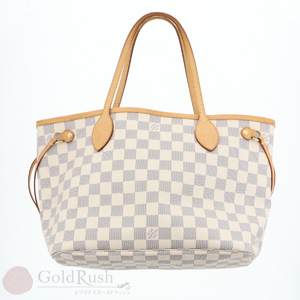 Louis Vuitton Damier Azur Canvas Tote Bag N 51110 Never Full Pm Off White