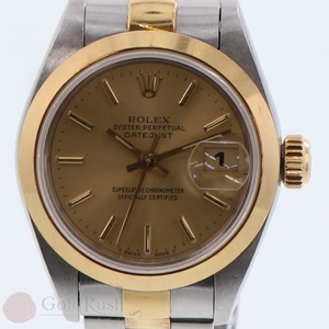 Rolex Datejust 69163 Ladies T Number Gold Dial Automatic With Ss Box