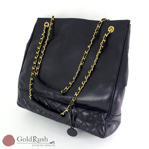 Chanel Matrasse Chain Tote Bag Black Gold Hardware Coco Mark Ladies With Charm