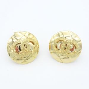 Chanel Matelasse Alloy Clip Earrings Gold