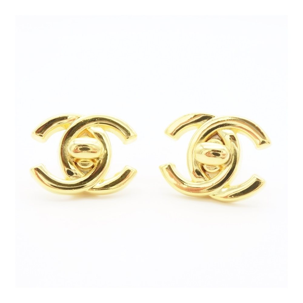 Chanel Coco Alloy Clip Earrings Gold