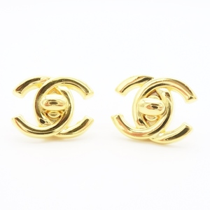 Chanel Earrings Women's Gold / Metallic Alloy Adult Casual Simple Cute Coco Mark Turnlock Motif 96p Vintage