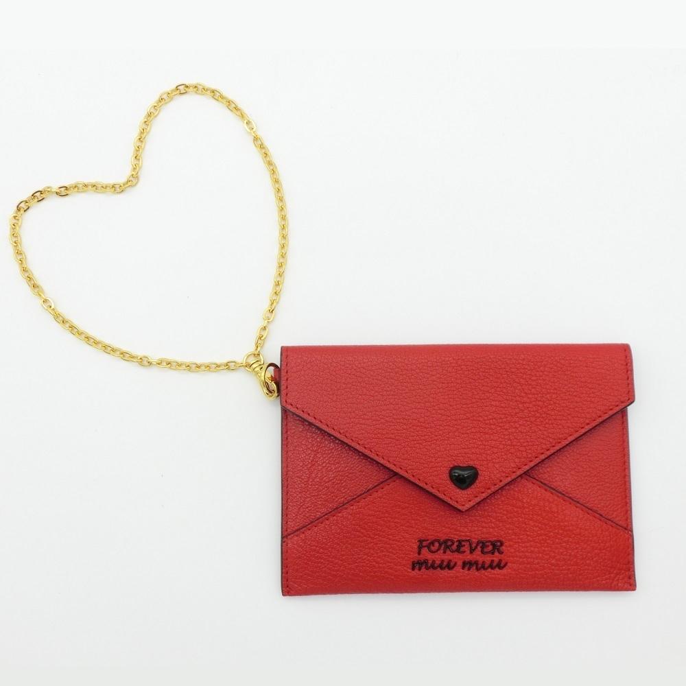 Miu Miu 5MF01F Women's Card Wallet Red