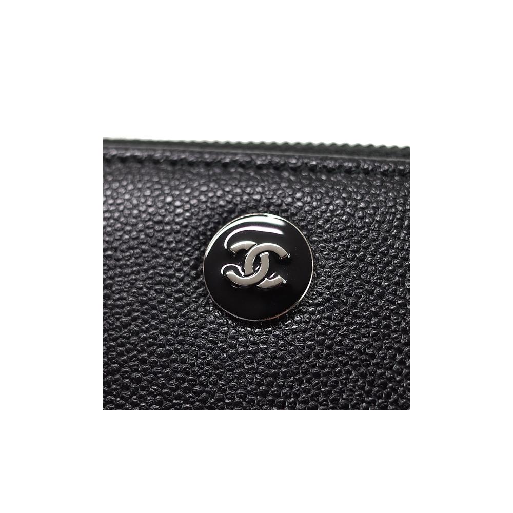 シャネル(Chanel) シャネル ココボタン ラウンドファスナー 長財布 レディース ブラック / キャビアスキン / フォーマル  【01】