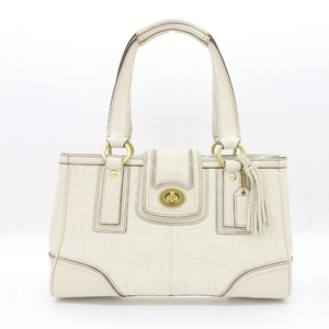 Coach Signature 11330 Women's Signature Line Leather Handbag Off-white,Or